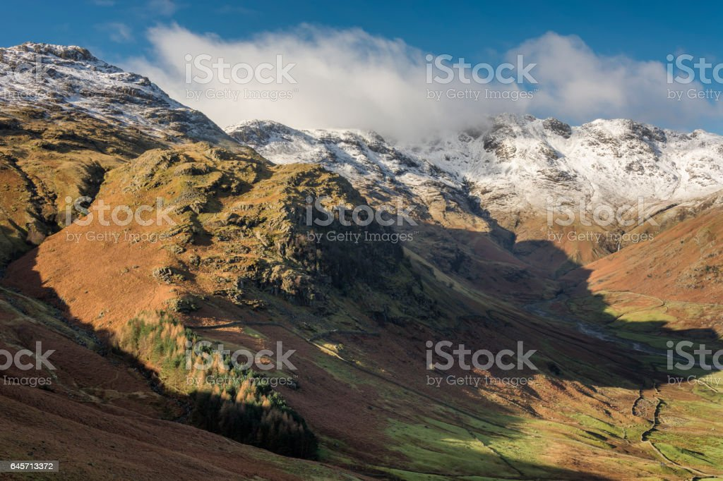 Snow Capped Cumbrian Fells On Winter Morning. stock photo