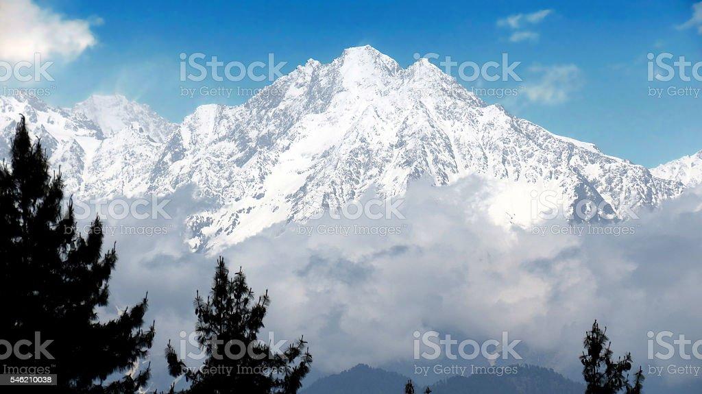 Snow capped Himalayas stock photo