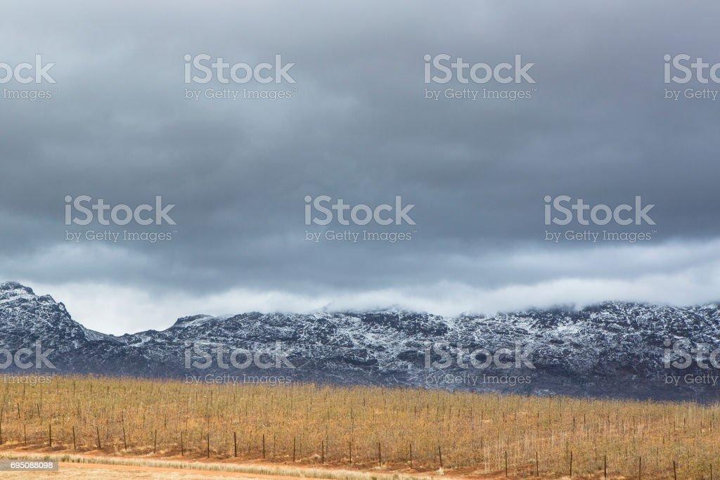 Snow capped Matroosberg mountains stock photo