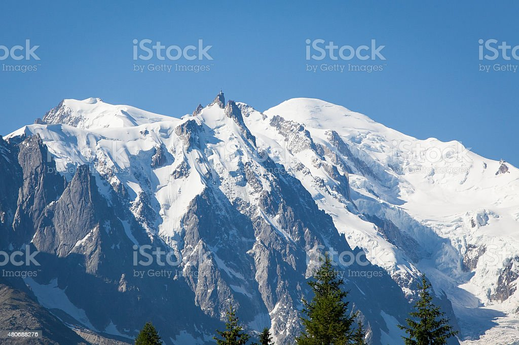 Snow capped Mont Blanc Massiff stock photo