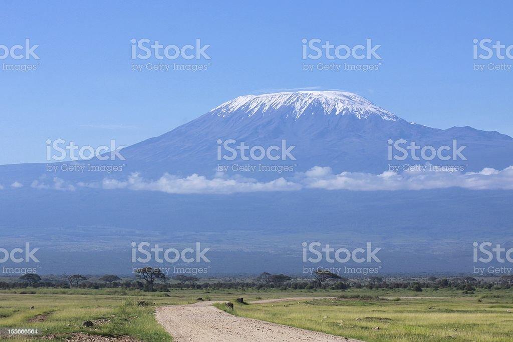 Snow capped Mount Kilimanjaro, Tanzania stock photo
