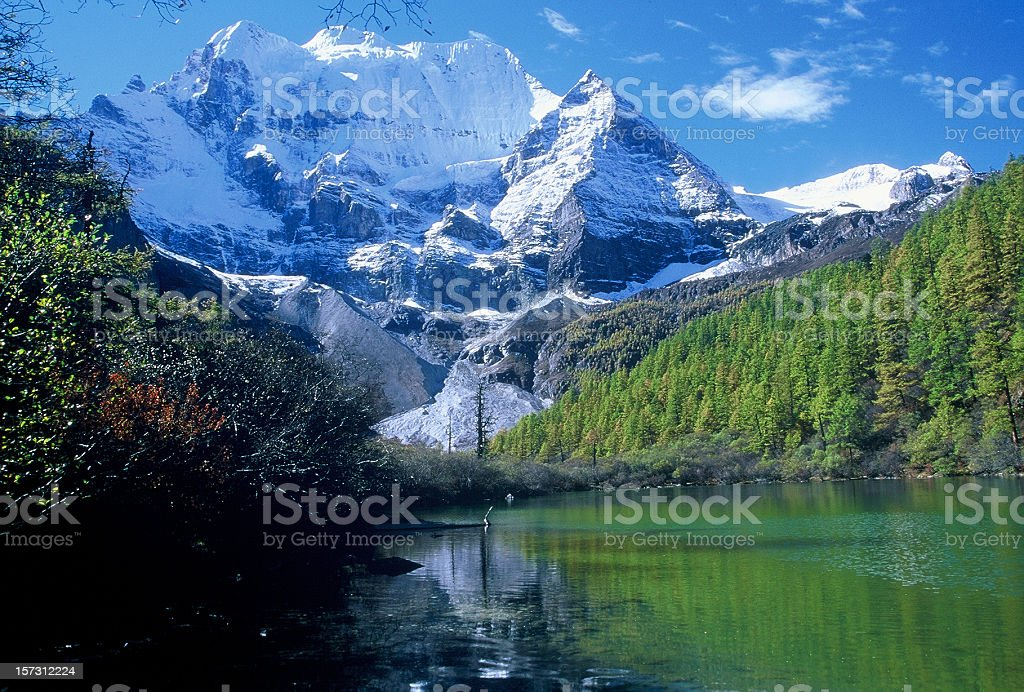 Snow capped mountain and reflection, Yading, Shangri-La royalty-free stock photo