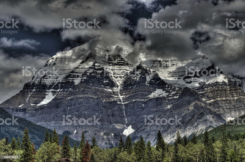 Snow capped mountain mount Robson in British Colombia Canada HDR stock photo
