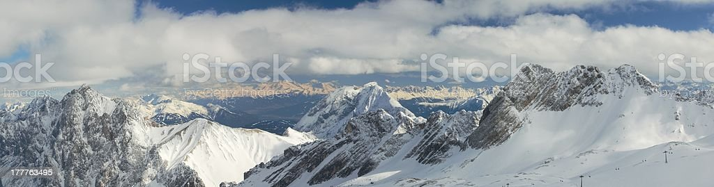 Snow Capped Mountain Peaks in the German Alps royalty-free stock photo