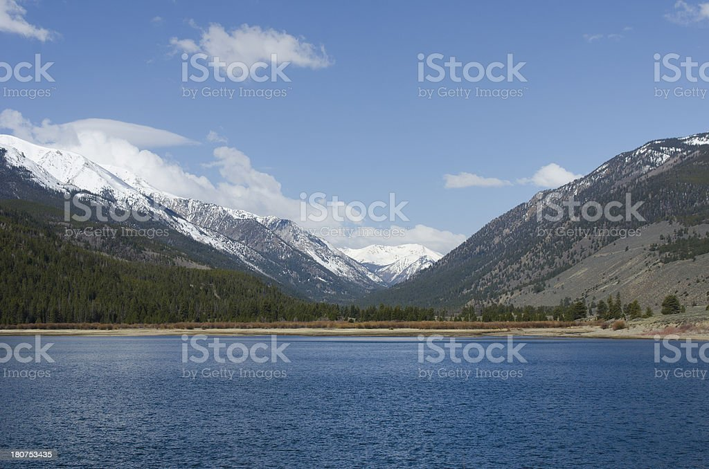 Snow Capped Mountains and Lake royalty-free stock photo