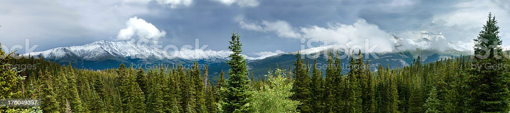 Snow capped mountains and pines in rocky mountain panoramic. stock photo