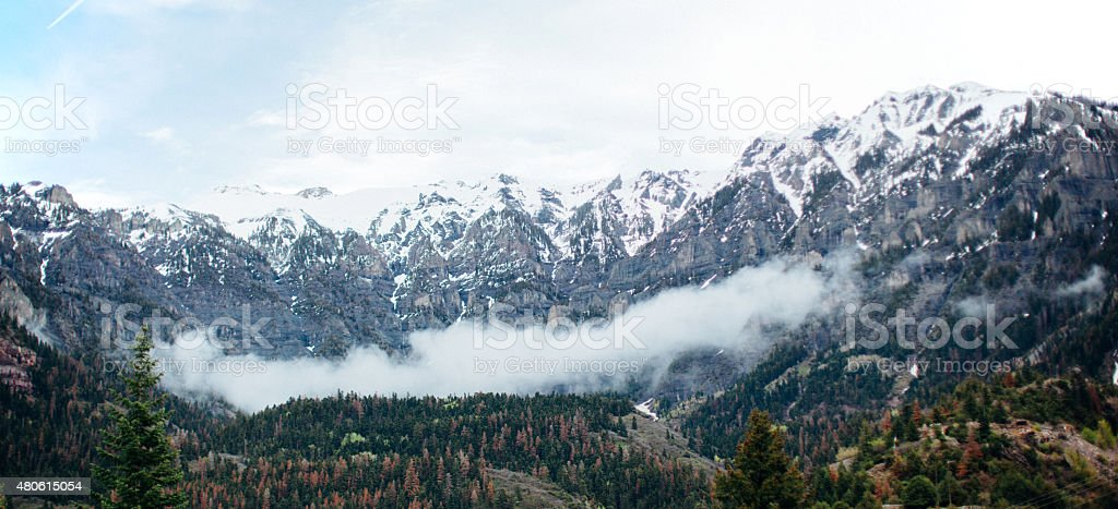 Snow Capped Mountains in Ouray Colorado stock photo