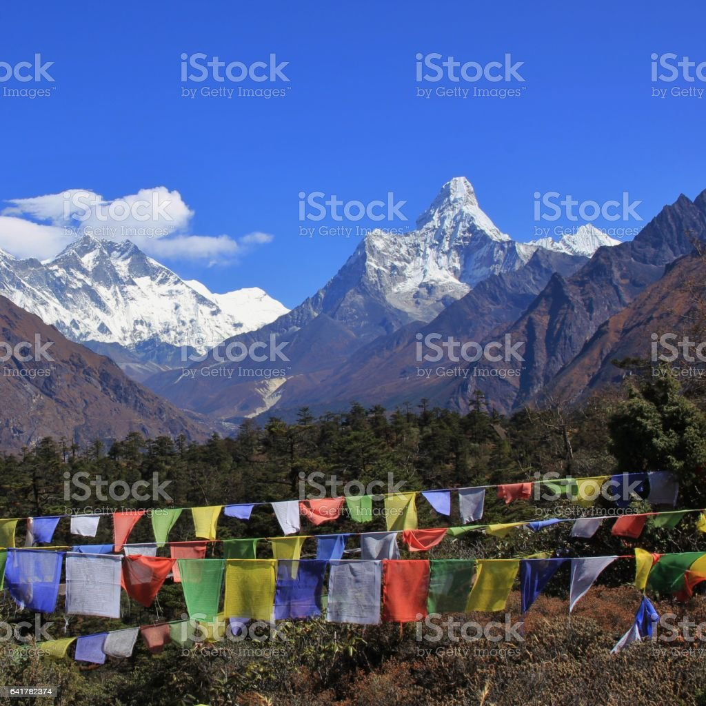 Snow capped mountains Lhotse and Ama Dablam. stock photo
