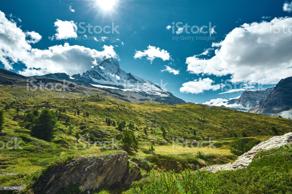Snow capped mountains. View of Matterhorn mount stock photo