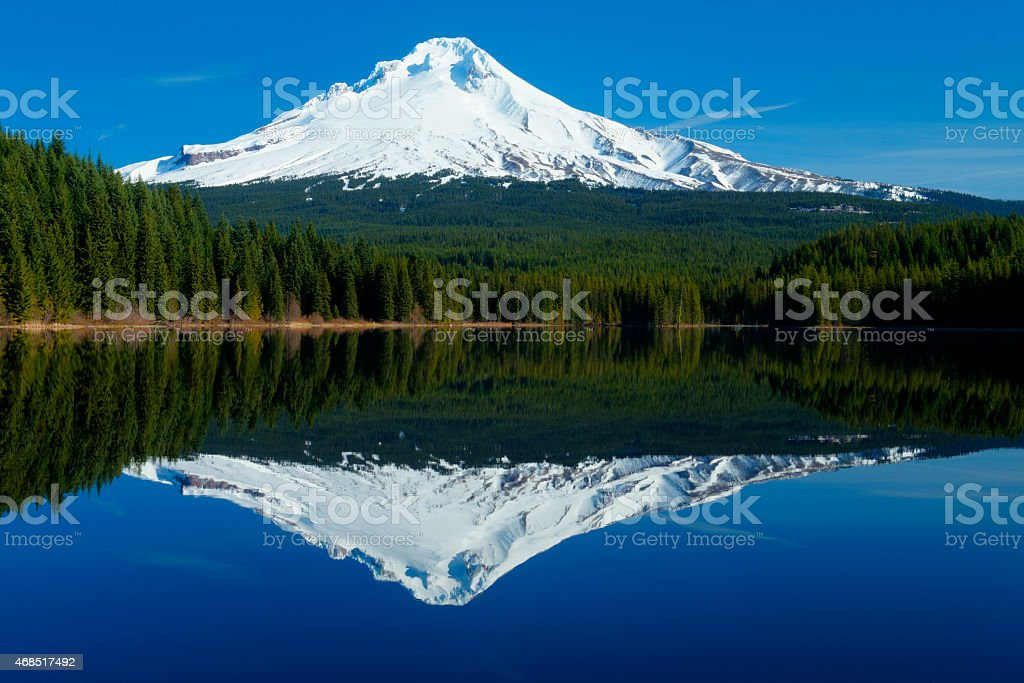 Snow capped Mt Hood,Oregon from Trillium Lake stock photo