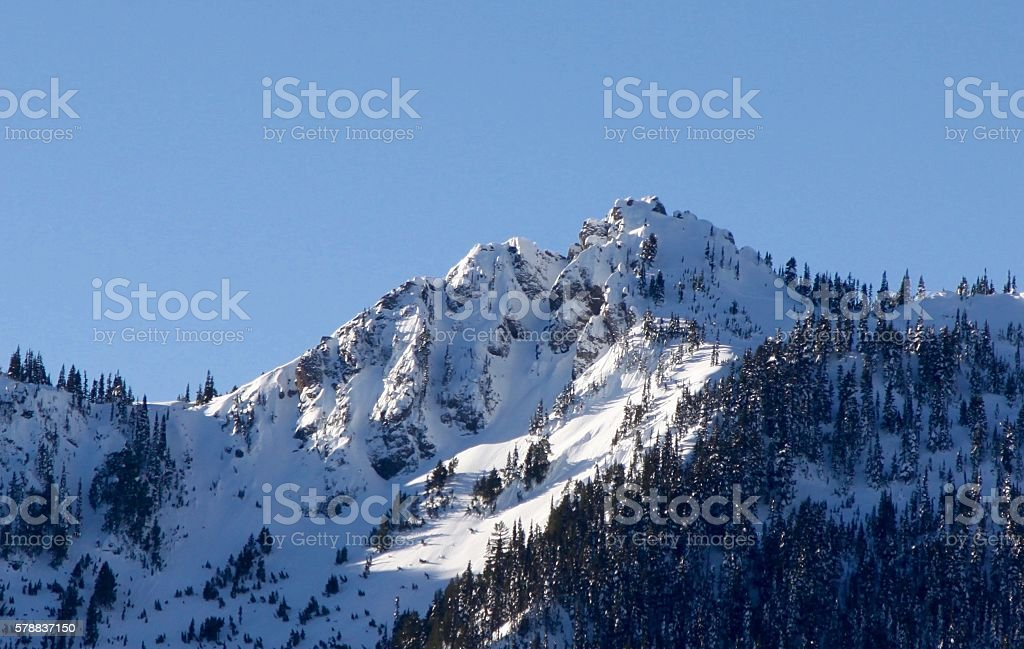 Snow Capped Peak In The Olympics stock photo