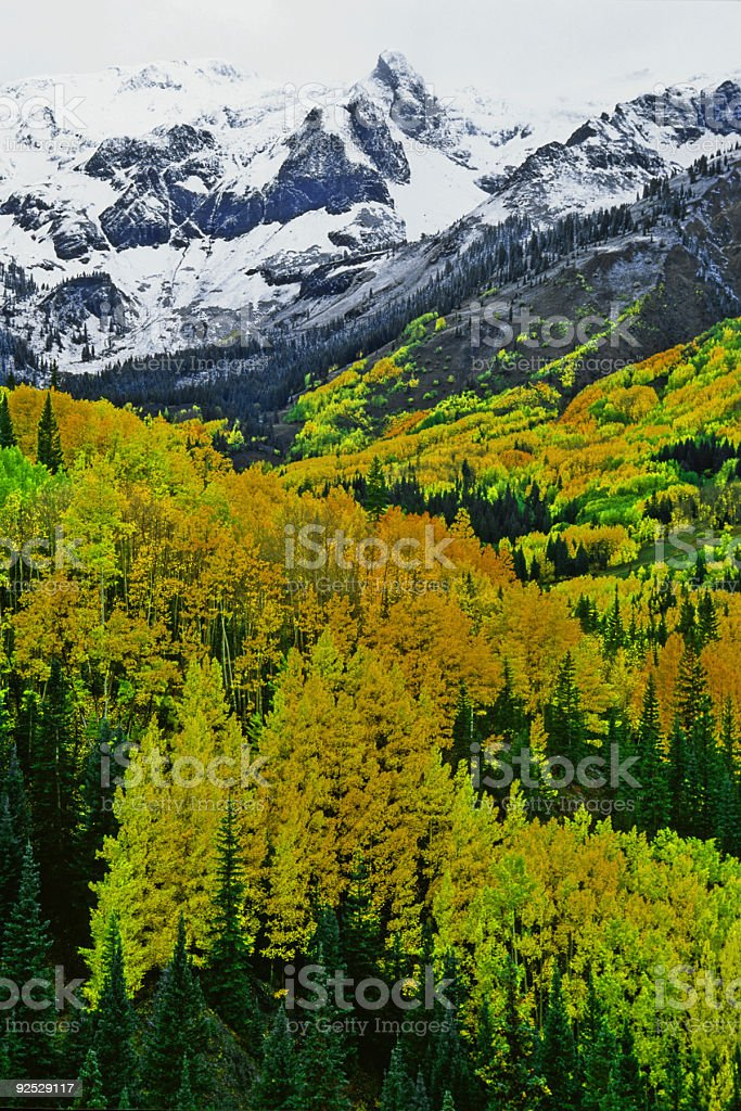 snow capped peaks in autumn royalty-free stock photo