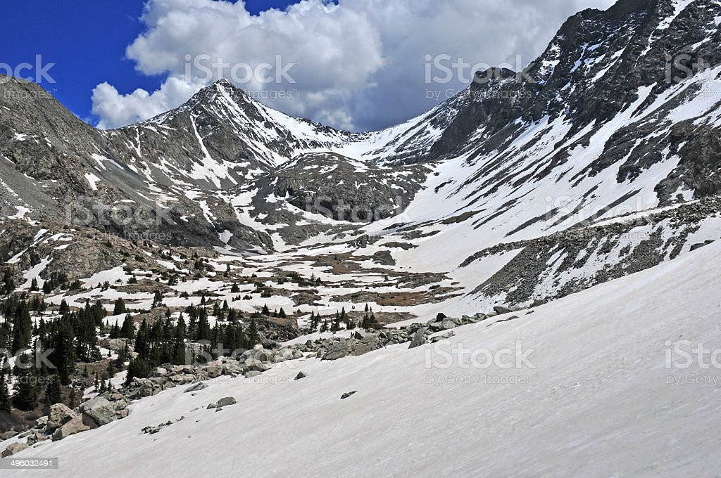 Snow capped peaks in the Rocky Mountains, USA stock photo