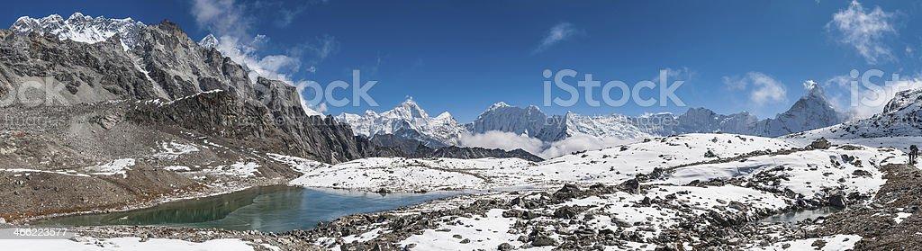 Snow capped summits jagged mountain peak wilderness panorama Himalaya Nepal royalty-free stock photo