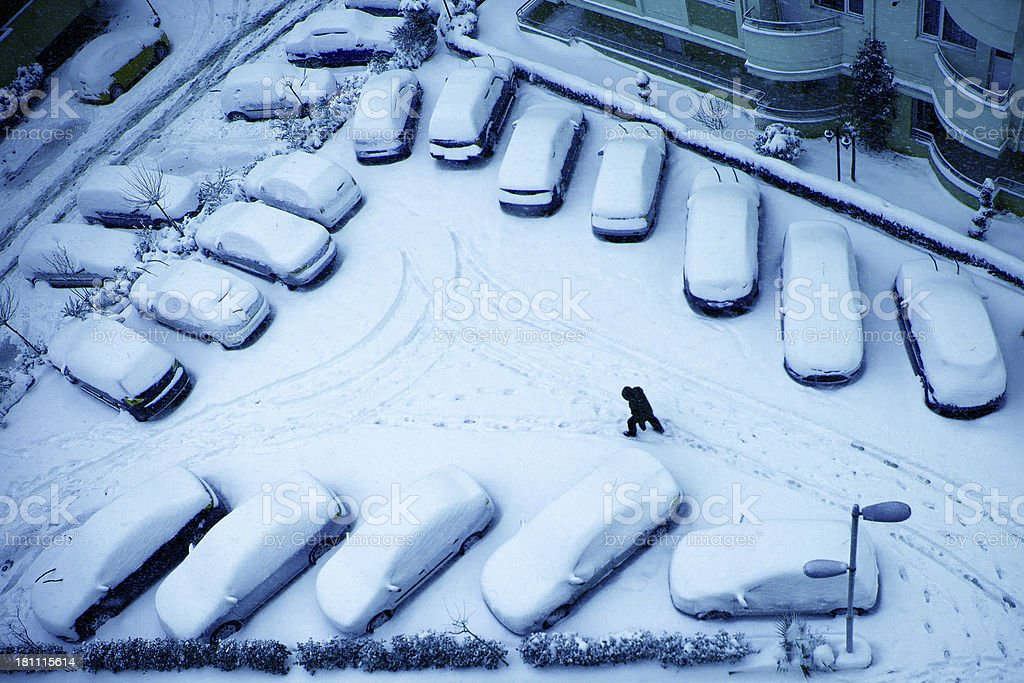 Snow, Cars and man royalty-free stock photo