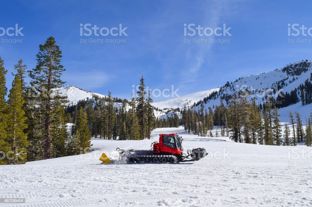 Snow Cat on the Slopes at Mammoth stock photo