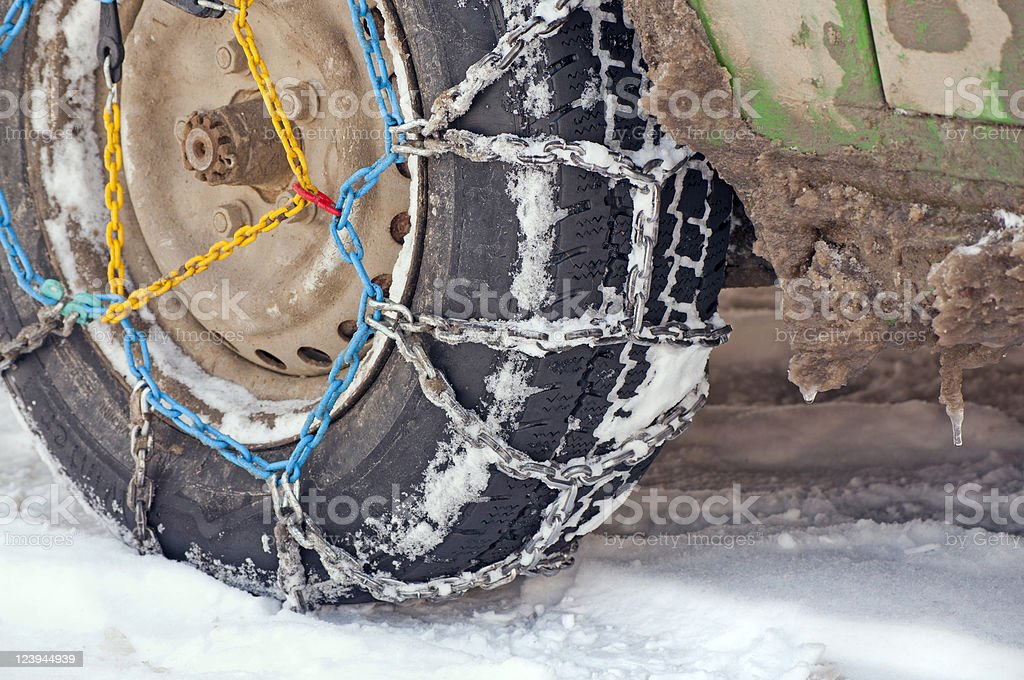 snow chain on tire stock photo