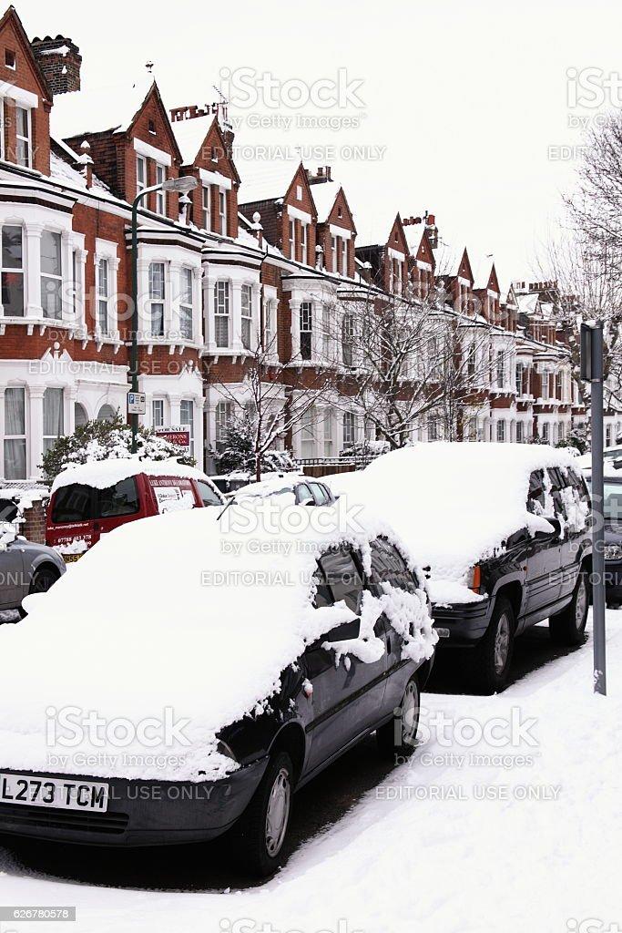 Snow cityscape stock photo