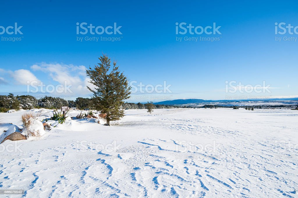 Snow clad landscape on golf course stock photo