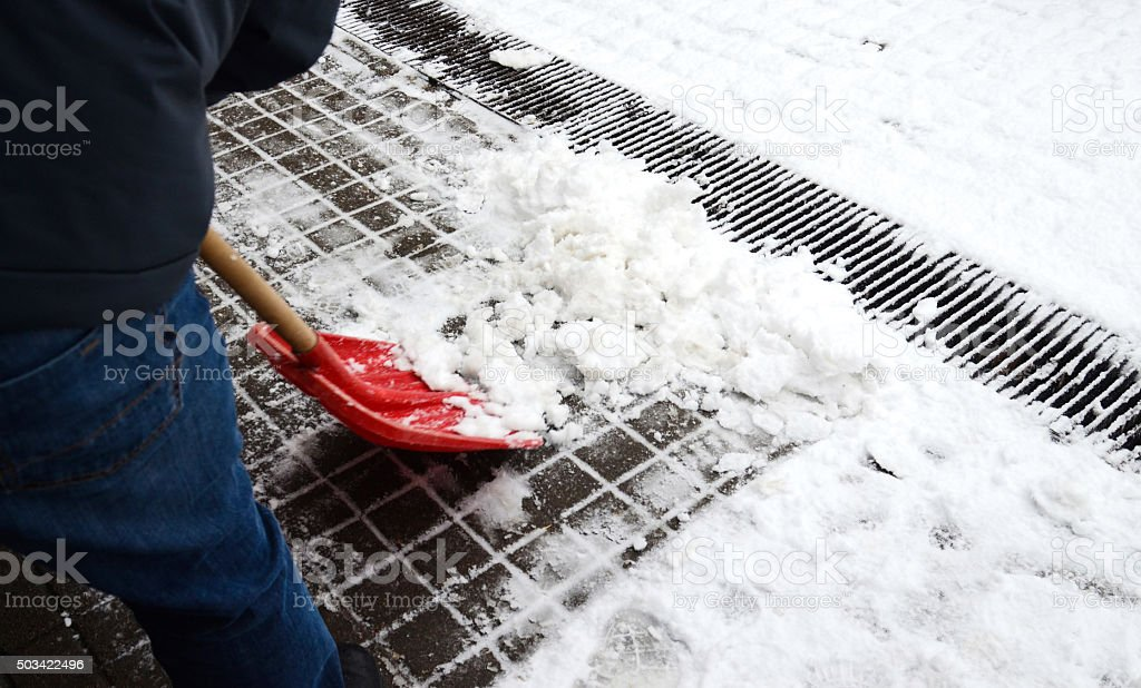 Snow cleaning stock photo