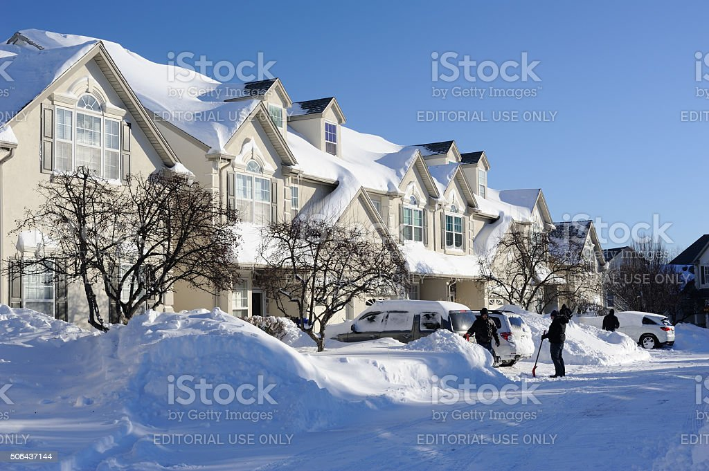 Snow Cleanup in Winter stock photo