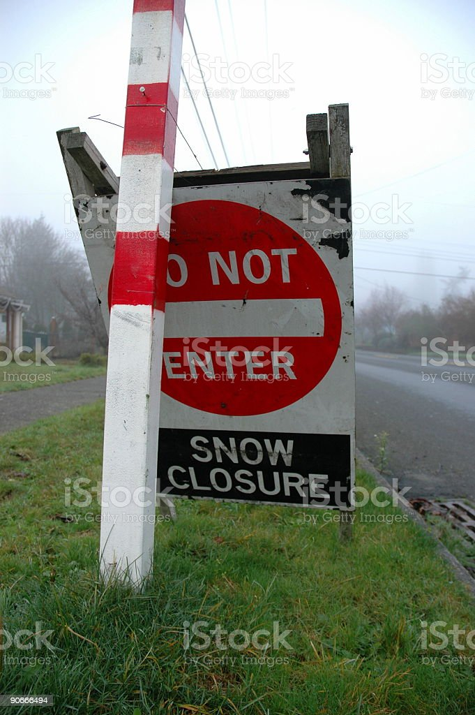 Snow closure sign royalty-free stock photo