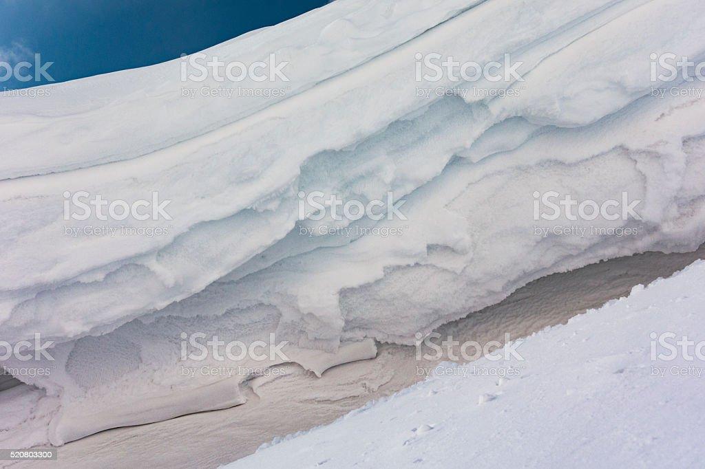 Snow Cornice Frozen Background Texture stock photo
