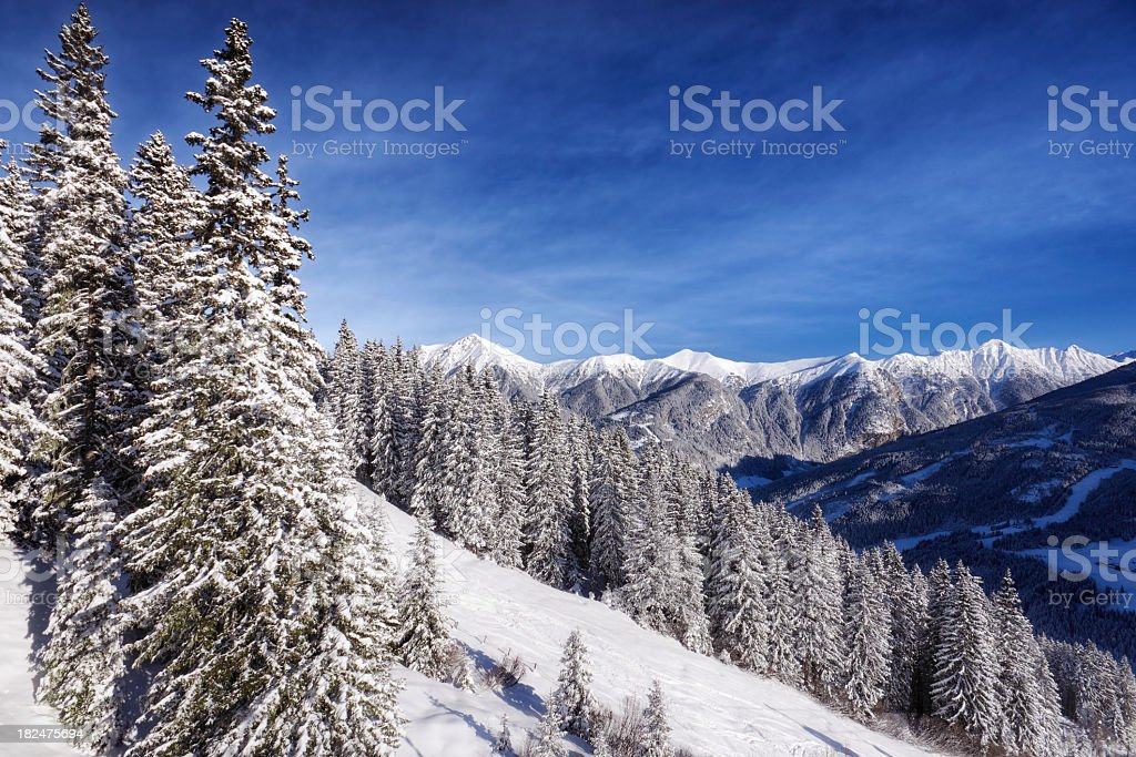 Snow Covered Alps stock photo