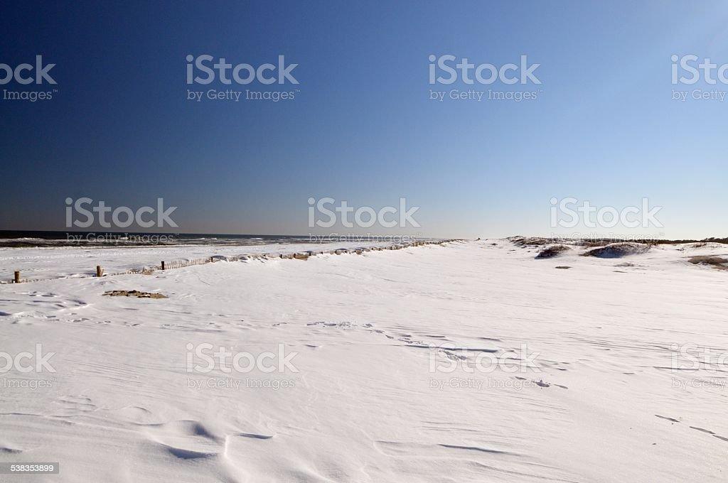 Snow Covered Assateague Island Beach stock photo
