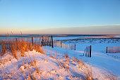 Snow covered beach on Cape Cod