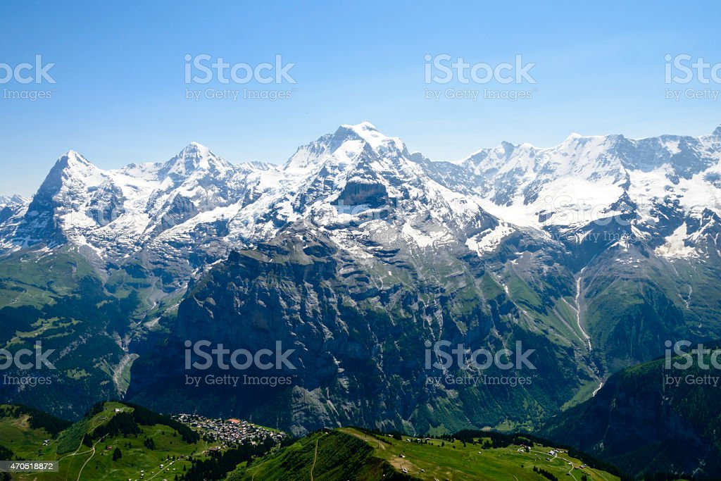 Snow covered Bernese Alps stock photo