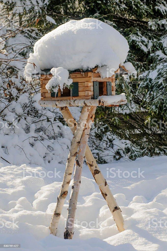snow covered bird house on birch stilts stock photo