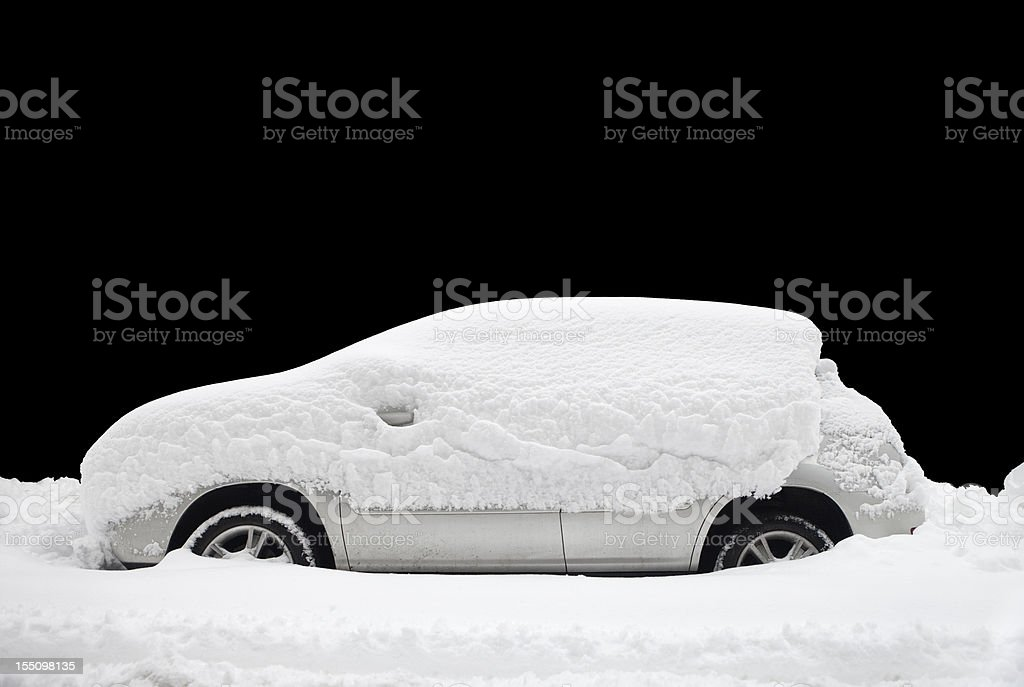 snow covered car royalty-free stock photo