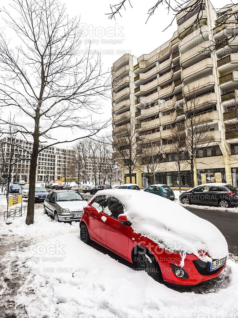 Snow Covered Cars, Berlin, Germany royalty-free stock photo