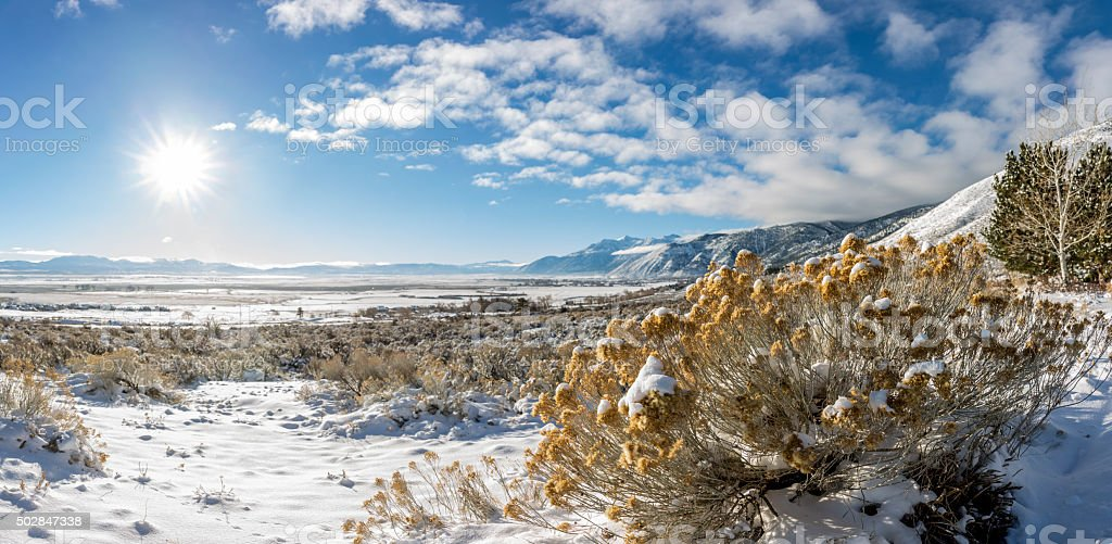 Snow Covered Carson Valley Sierra Nevada Mountians and Genoa stock photo