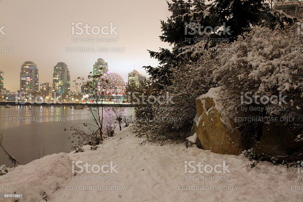 Snow Covered City stock photo