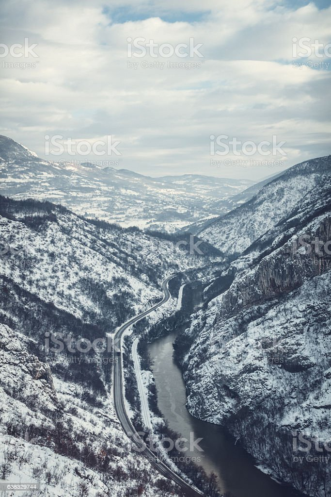 Snow covered cliffs stock photo