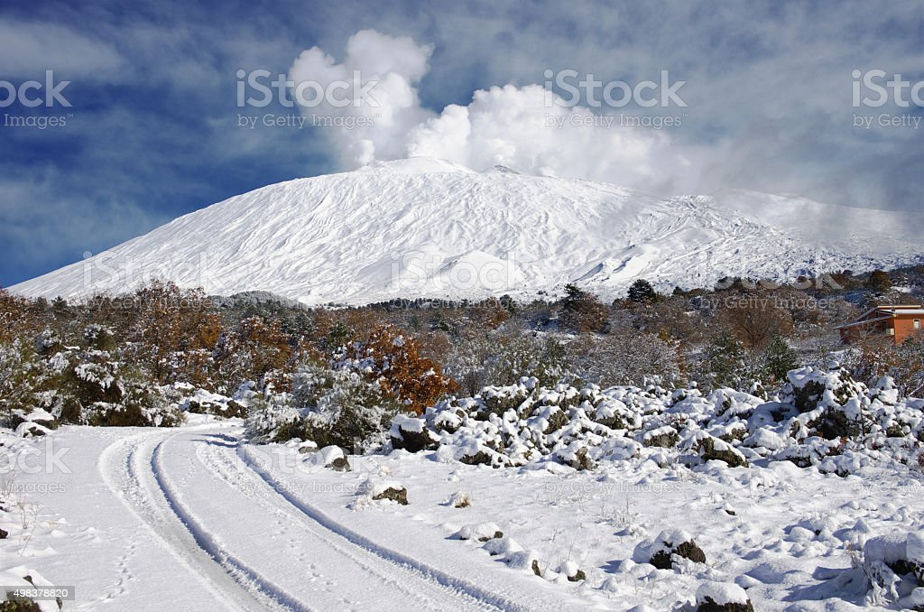 Snow Covered Etna And Road, Sicily stock photo