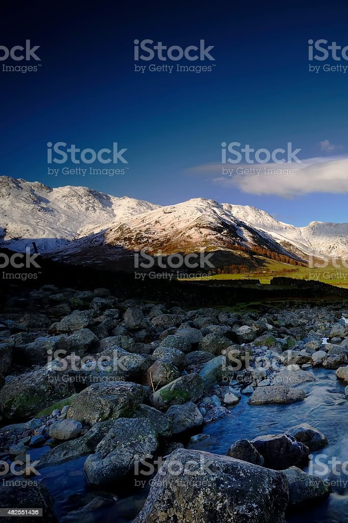 Snow Covered Fells stock photo