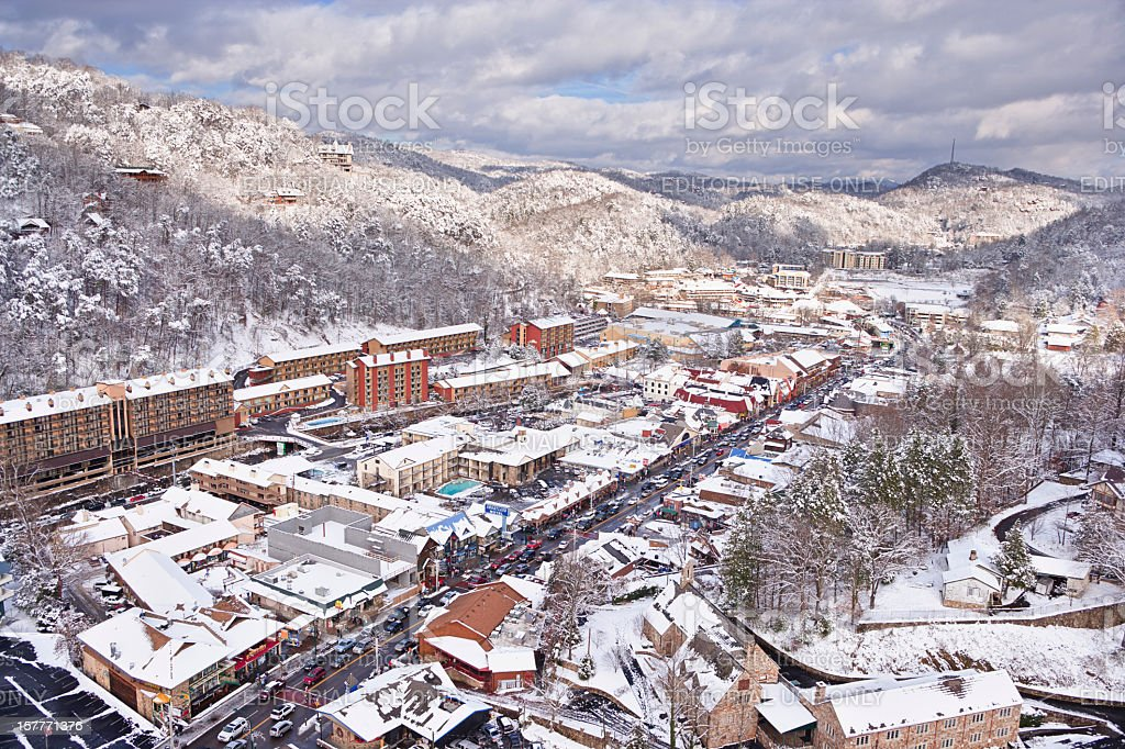 Snow covered Gatlinburg near the Smoky Mountains stock photo