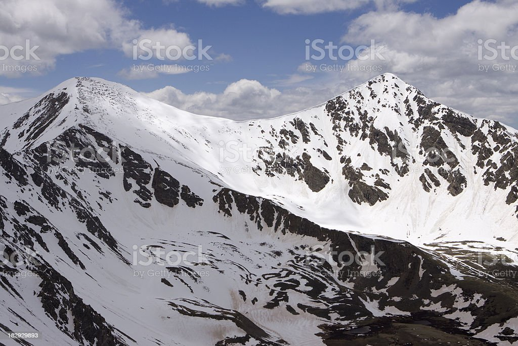 Snow covered Grays and Torreys Peak in Colorado stock photo