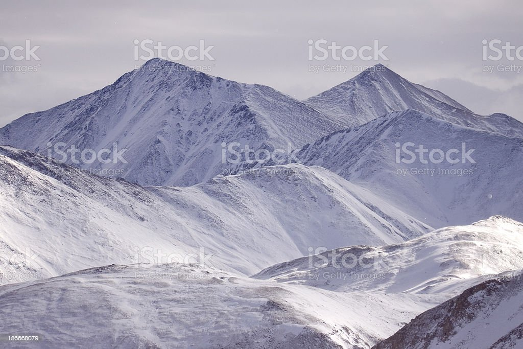 Snow covered Grays and Torreys Peaks Colorado stock photo