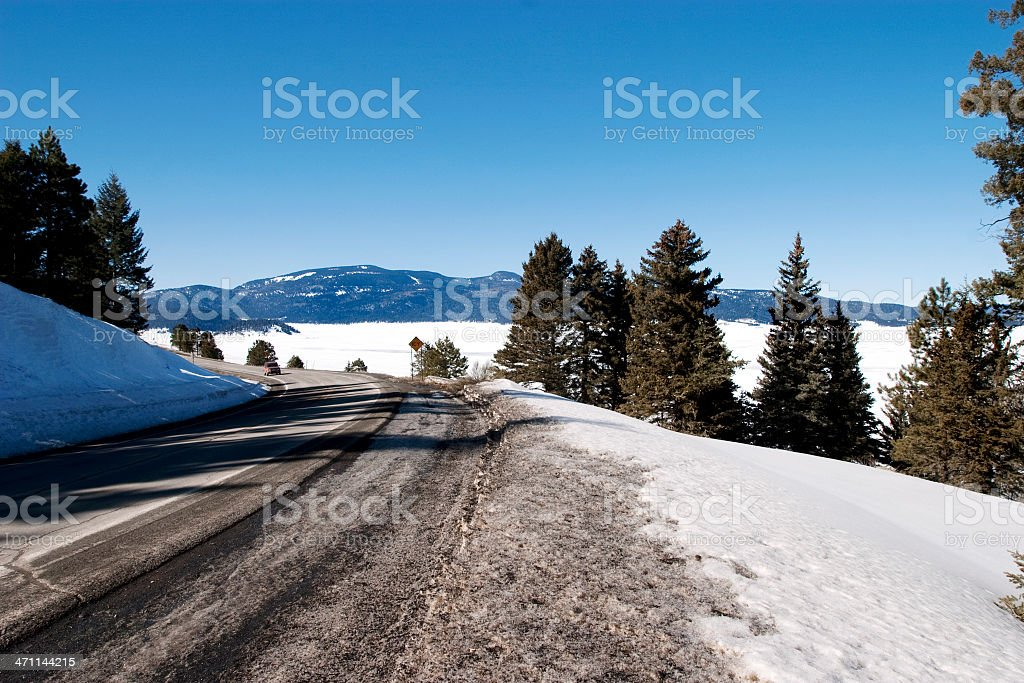 Snow Covered Highway in Winter New Mexico royalty-free stock photo