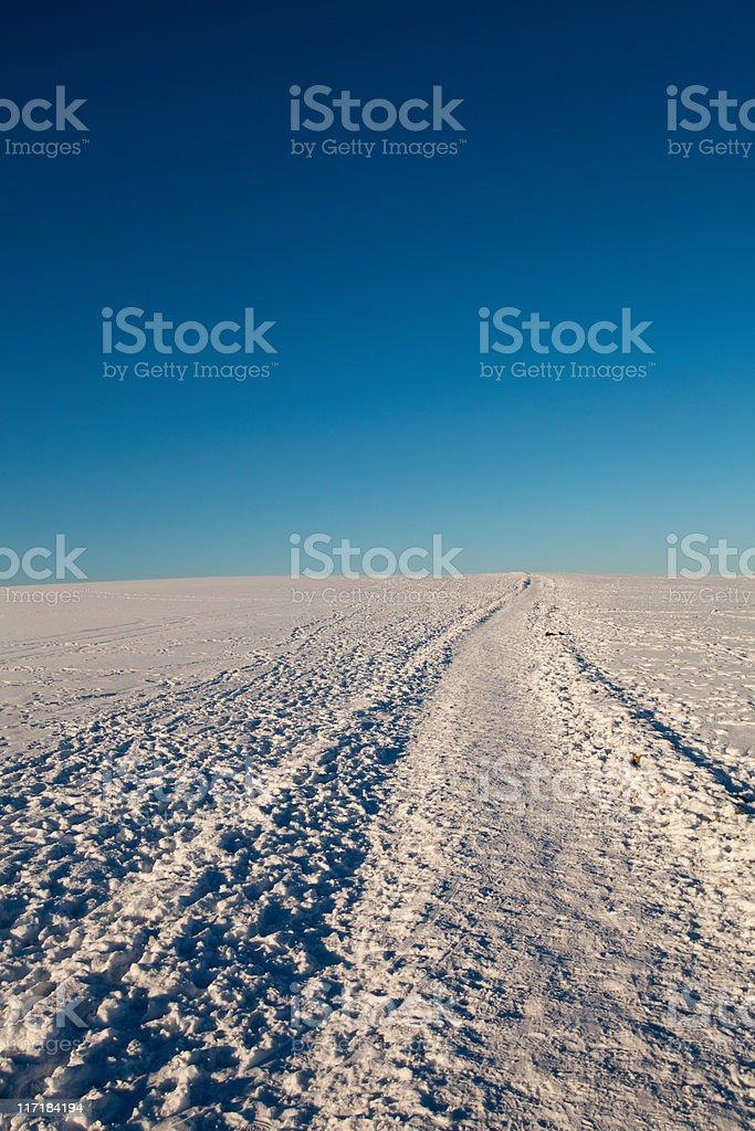 Snow covered hill, Warrington, UK stock photo