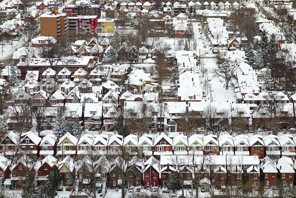 Snow Covered Homes in central Hamilton Ontario Canada royalty-free stock photo