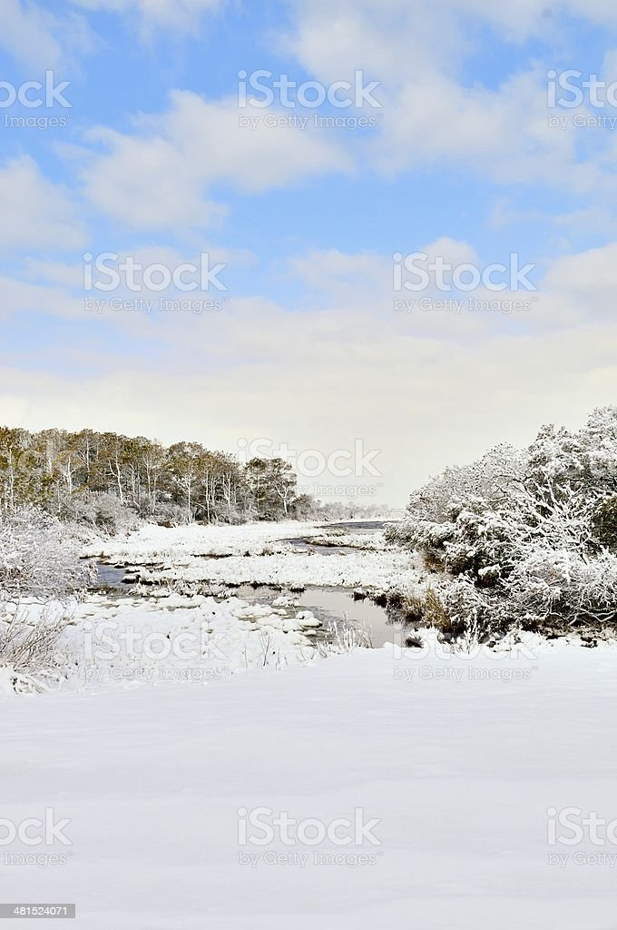 Snow Covered Inlet stock photo