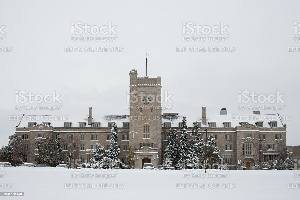 Snow covered Johnston Hall building of Guelph University stock photo