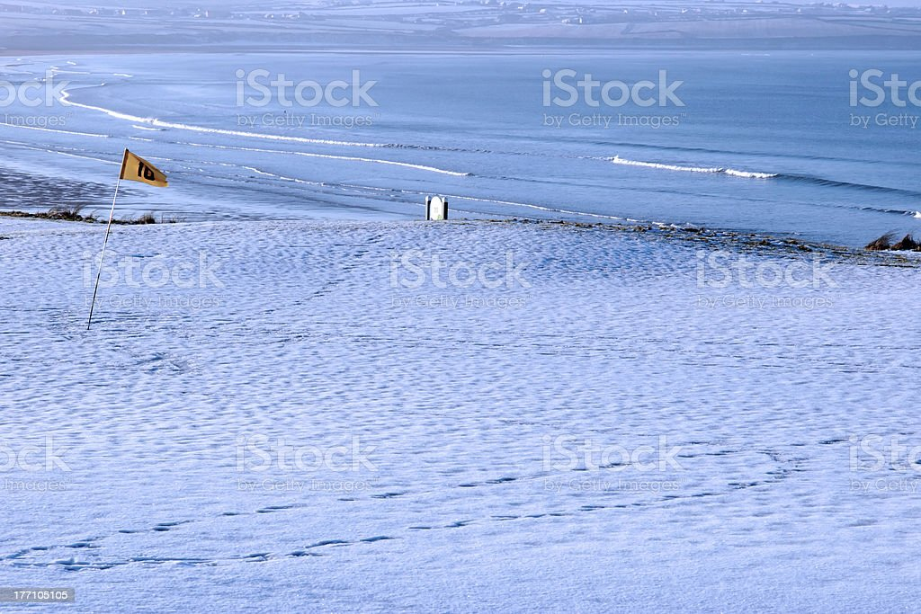 snow covered links golf course royalty-free stock photo