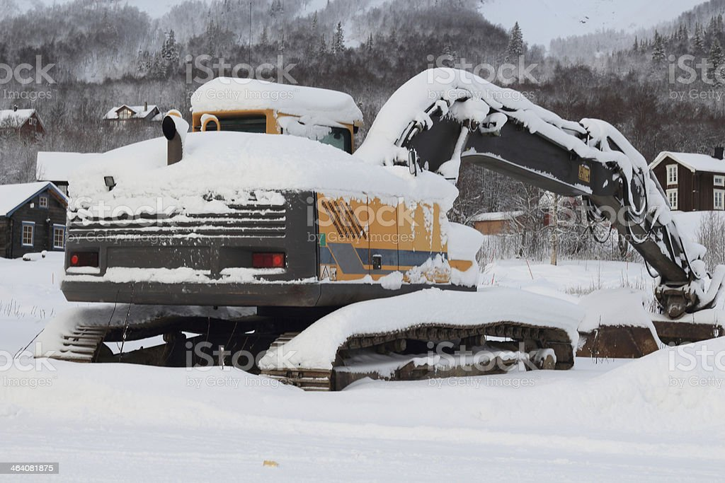 Snow covered loader stock photo