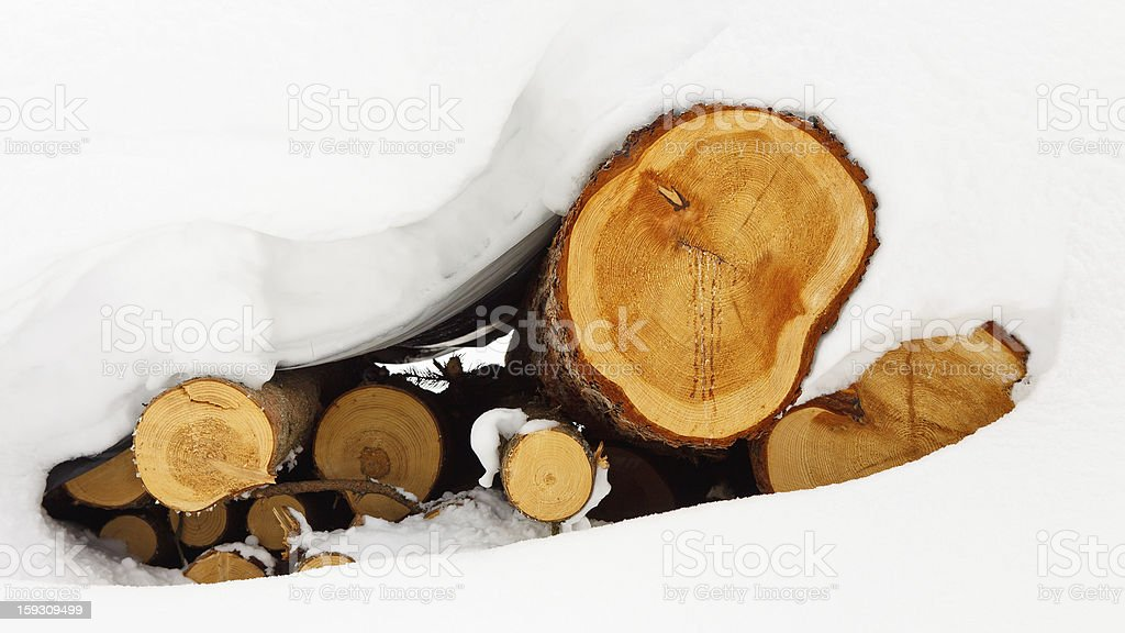 Snow Covered Logs royalty-free stock photo